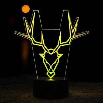 Antelope Head 3D Lamp