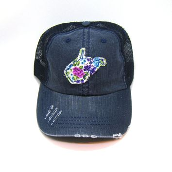 West Virginia Trucker Hat - Distressed - Floral Fabric State Cutout
