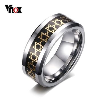 Tungsten Magen Star of David Ring 8 mm