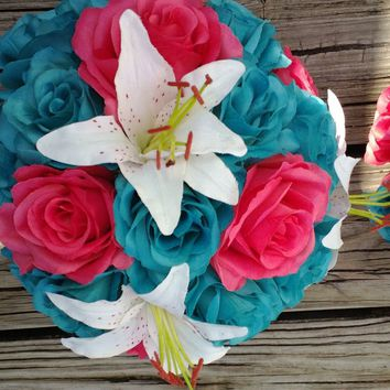 17 Piece Wedding Package, 22 Rose Colors, Coral Bouquet, Coral Turquoise Bouquet