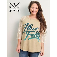 Have Faith on Cream with White Shimmer Lace Sleeves and Cross Back Design