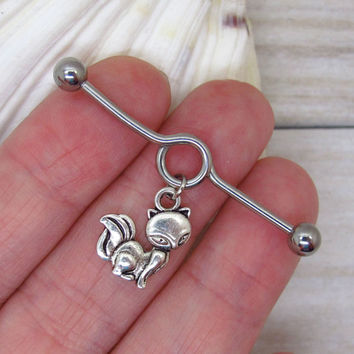 Antique silver cute fox industrial barbell, body jewelry ,industrial piercing,double piercing,belly button rings,fox  industrial bar earring