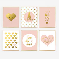 Pink and Gold Nursery Gallery Wall - Blush Pink Prints with personalized, Nursery Print Decor - Girl nursery, Faux Gold Foil, Nursery Prints
