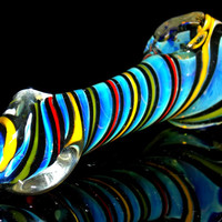 Twisted Rasta Color Spiral Spoon Pipe Jamaican Red Green & Yellow Silver Fumed Color Changing Smoking Bowl
