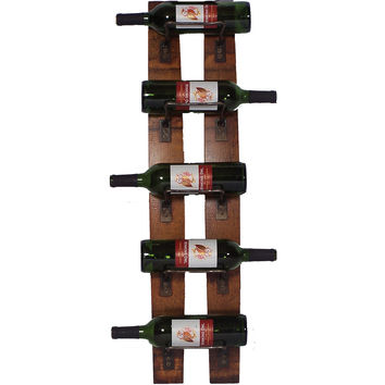 5 Bottle Wine Holder Wall Rack (Made from Wine Barrels)