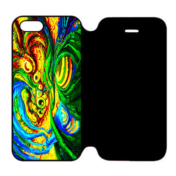 Colorful Trippy Abstract Art For iPhone 5 | 5S Flip Case
