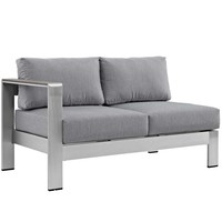 Silver Gray Shore Left-Arm Loveseat Outdoor Patio Aluminum Loveseat