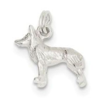 Polished Wolf Charm in Sterling Silver