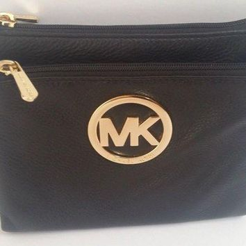DCCKW7H NEW Michael Kors Black Leather Purse Bag Crossbody Gold MK Logo Wallet