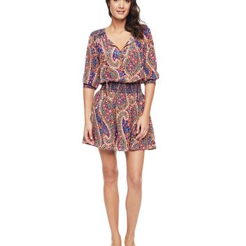 Moon Blue Del Mar Del Mar Paisley Silk Dress by Juicy Couture,