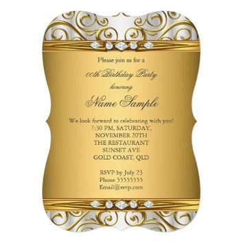 Elegant Gold Damask White Diamond Birthday Party 5x7 Paper Invitation Card