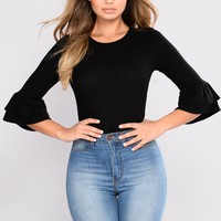 Got What You Want Ruffle Top - Black