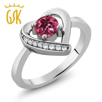 GemStoneKing 925 Sterling Silver Fine Jewelry rings 0.59 Ct Round Heart Shape Pink Natural Tourmaline AA Engagement  Rings Women