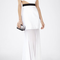 White BCBG Roxana One-Shoulder Cutout-Waist Gown