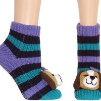 Capelli New York Adorable Pup 3d Head At Toe Stripe Slipper Sock With Grippers Navy Combo