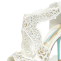 Blue by Betsey Johnson Livie Ivory Satin Rhinestone Heels