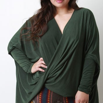 Twisted Front Dolman Sleeves Top
