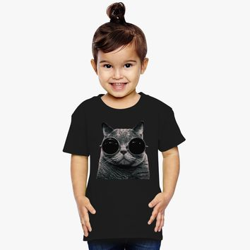 Cute Cat With Glasses Toddler T-shirt