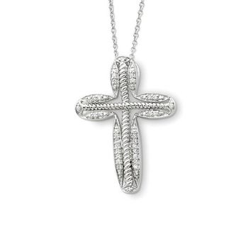 Rhodium Plated Sterling Silver April CZ Birthstone, Cross Necklace