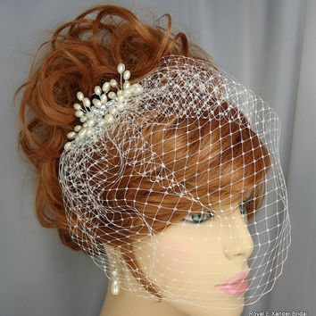 9 Inch Ivory Russian Style Blusher Birdcage Veil Pearl Rhinestone Bridal Comb