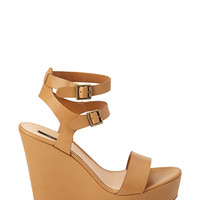 FOREVER 21 Faux Leather Wedge Sandals