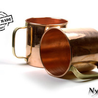 2 x Copper Moskow Mule Mugs Cups Bar Beer 14 Oz New Set Of 2 (100% Handmade) - Same Day Shipping * Pure Copper *