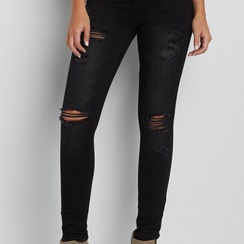 DenimFlex™ jegging with destruction in black | maurices