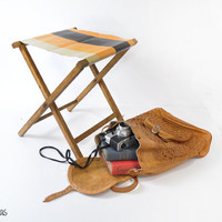 Vintage Camping Stool • Fishing Stool • Glamping • Bohemian Electic Footrest • Foldable 1960s Camping • Vintage Wooden Stool • Folding Chair