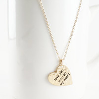 Handstamped Necklace Love You With All My Heart Gold or Silver Tone Pendant Charm Necklace
