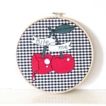 Cherry Tattoo Wall Art, Embroidery Hoop Art, Tattoo Style Embroidery