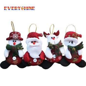 Merry Christmas 4pcs/lot Red Santa Pendant Christmas Tree Hanging Ornaments Crafts for Home Decor Supplier SD206