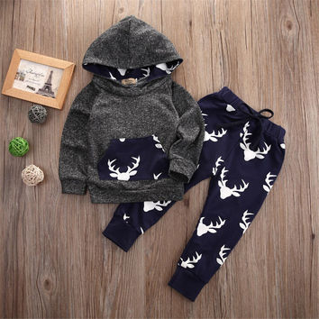 Tops Hoodie Top + Pant Leggings Cute Animals Kids Baby Clothes Set Warm Outfits Deer Baby Boys Girls XMAS Clothes