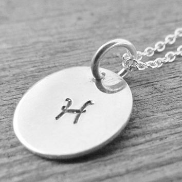 Initial Necklace Hand Stamped Tiny Charm Personalized Sterling Silver Monogram Simple Custom Customized