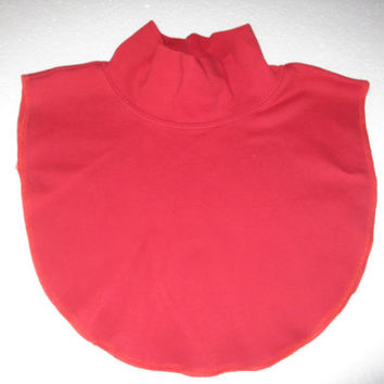 Womens Upcycled Soft Red Mock Turtleneck Dickie Collar