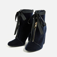 HIGH HEEL VELVET ANKLE BOOTS