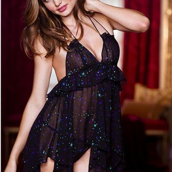 Black Starburst Print Ruffled Mesh Babydoll Set