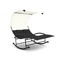 iKayaa Outdoor Double Chaise Lounger W/ Canopy and Pillows Garden Pool Rocking Chair Patio Furniture