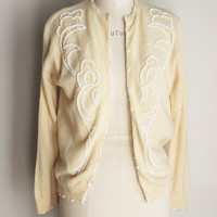 CLEARANCE: Vintage 1950s Beaded Cardigan Sweater, Imperial Imports