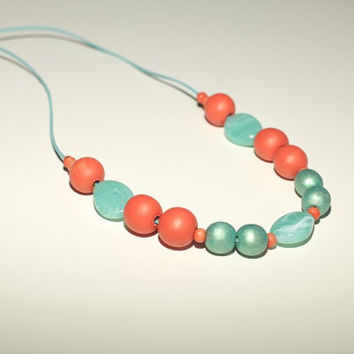 Coral Mint wooden necklace, mint peach chunky turquoise, peach orange necklace, wood hand painted chunky beads, OOAK