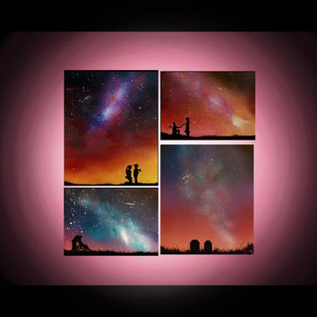 Spray Paintings on Canvas - Spray Paint Art - Personalized - Starry Nights Series - Couples - Love -Engagement - Custom Colors - Painting