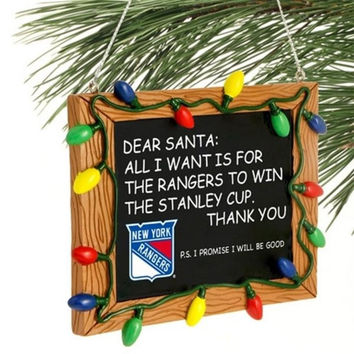 New York Rangers Resin Chalkboard Sign Ornament