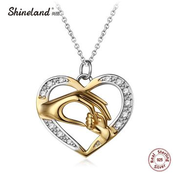 Shineland Mom Loves Baby Hand in Hand 925 Sterling Silver Fashion AAA Zircon Charm Necklace & Pendant Mother's day Gift For Mom