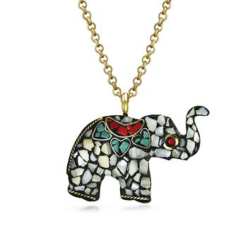 Elephant Mosaic Necklace Tribal Pendant Gold Bronze Tone Metal