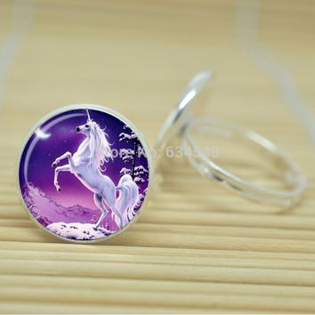 Rearing Unicorn Ring Cabochon Adjustable Silver or Bronze Color Metal