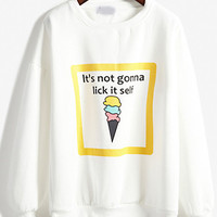 White Ice Cream Print Sweatshirt