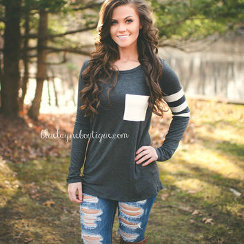 Double The Fun Pocket Top (Grey)