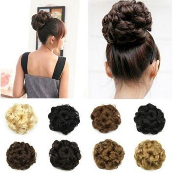 US Lady Womens Comb Clip In Hair Bun Wave Curly Hair Piece Updo Hair Extension