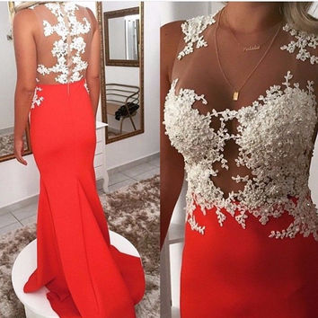 Sleeveless White Lace Long Prom Dresses,Prom Dress