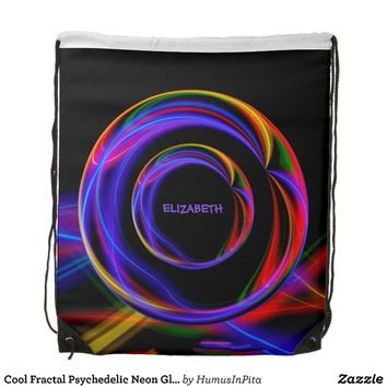 Cool Fractal Psychedelic Neon Glow Abstract Ball Drawstring Bag
