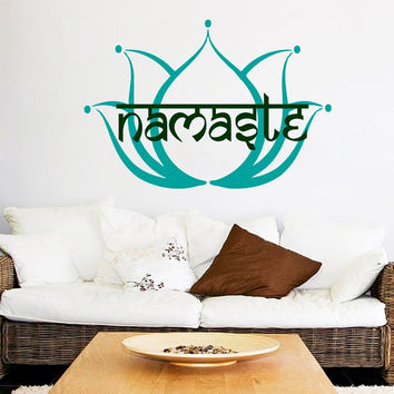 Namaste Wall Decal Lotus Stickers Yoga Studio Vinyl Decals Mandala Flower Art Mural Home Interior Design Bedroom Bohemian Decor KY116